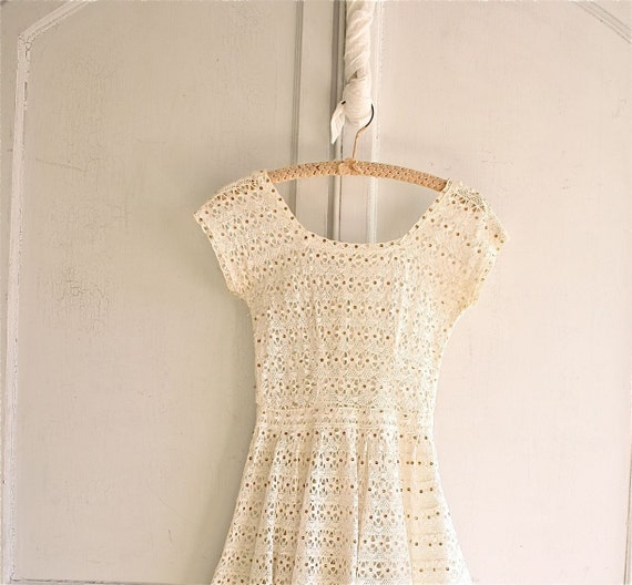 reserved . lace crochet dress antique white / gold sequin 60s
