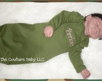 Personalized Take me Home Layette Army Green Camo Gown and Headband