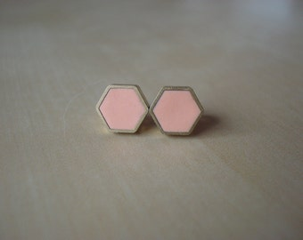 peachy keen mini brass hexagon stud earrings
