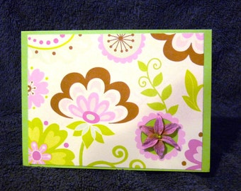 Handmade Retro-style Floral Thank You Card with 3D Flower - FREE SHIPPING