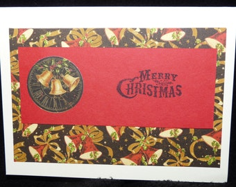 Vintage Christmas Bells & Holly - Diecut - Merry Christmas - Handmade Card - FREE Shipping