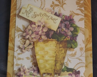 To My Sweetheart - Handmade Card - Valentine's Day  - Wedding - Anniversary - Lovely Floral Design with 3D Embellishments - FREE Shipping