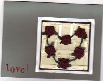 Handmade Love Card - Fabric Roses - Valentines - Thinking of You - Sympathy - Get Well - Encouragement - FREE Shipping