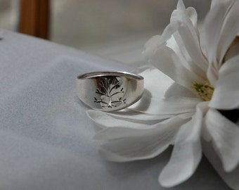 Tree of Life, Men's Sterling Silver Ring, Handmade in Maine