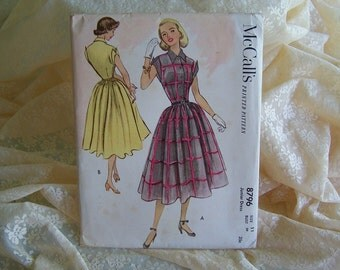 Uncut Vintage 1951 Day Dress Full Skirt McCalls Pattern Junior size 11 Bust 29