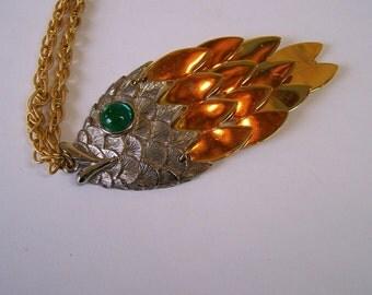 Vintage 70s Tancer Necklace Fancy Fish Pendant Goldtone Chain Necklace