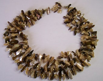 Vintage 50s Necklace 3 Strand Choker Cream Taupe Brown MOP Shell Smooth Beads