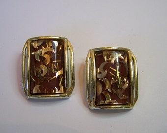 Vintage 50's Earrings Lucite Confetti Goldtone Clip Backs Earrings