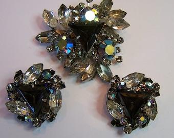 Vintage 50s Brooch Earrings Black Diamond Rhinestone Brooch w Matching Earrings Set