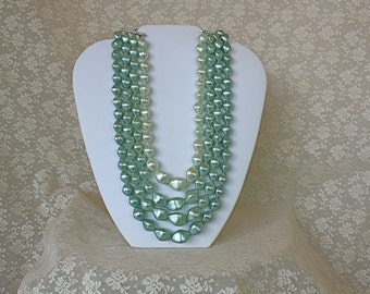 Vintage 50s Necklace 4 strand Green Plastic Bead Choker Necklace  Spring Summer Tea Party Dinner Wedding