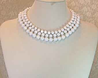 Vintage 50s Bib Necklace West Germany 3 strand White Plastic Bead Choker