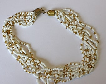 Vintage 60s Necklace Choker White Milk Glass and Amber Beads w Goldtone metal Clasp