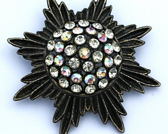 Vintage 50s Brooch Large Starburst Dome Pin w Clear & AB Rhinestones