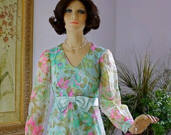 Vintage 60s Formal Dress Henry Lee Blue Pink  Floral Chiffon Empire Long Dress