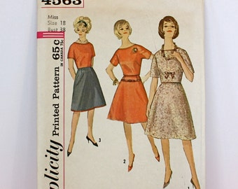 Vintage 60s Simplicity Pattern 4563 2 piece Day to Dinner Dress Size 18 Bust 38 Uncut Pattern