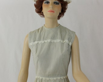 Vintage 60s Day Dress  Tan White Cotton Gingham Check Sheath w Tatting Lace