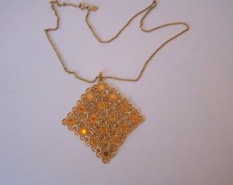 Vtg 60's Necklace Sarah Cov. Gold Daisy Chain Link Pendant Necklace