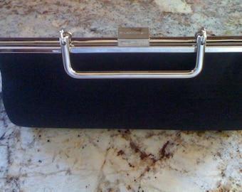 Sale Vintage 80s Handbag Designer Liz Clairborne Box Purse Evening Clutch Retro Top Handle Bag