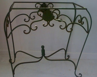 Holiday Sale Vintage French Furniture/ Rustic Wrought Iron Fancy Scroll Table Base/ Patio Furniture w Twisted Scrolls and Pineapple Motif
