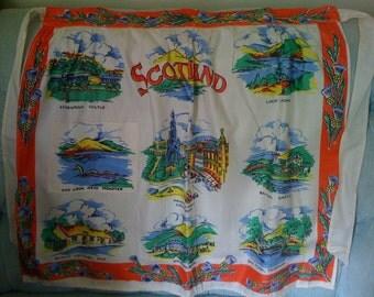 2Days Sale Vintage 50s Apron/ Kitchen Apron/ Travel Aprons- Scotland Souvenir
