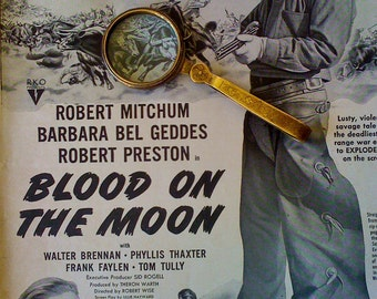Vintage 1948 Original B&W Print Ad R.Mitchum For Blood On The Moon Cowboy Movie Promo Ad