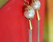 SALE Modern Egyptian- Pearl earrings with cascading copper, silver, and gold tone chains