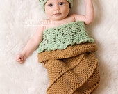Mint Chocolate Chip Ice Cream Cone Cocoon and Hat Crochet Pattern PDF557