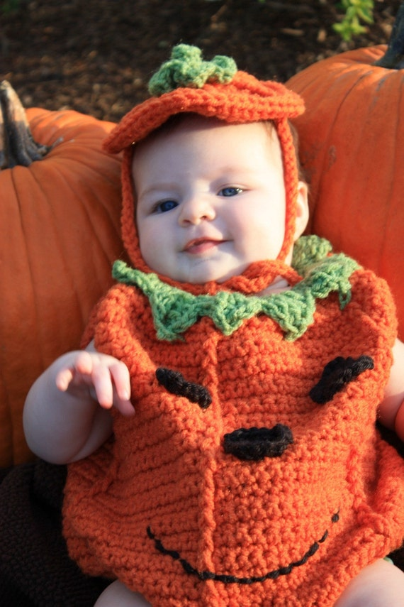 Crochet Halloween Baby Hat Pattern : Baby Pumpkin Costume Crochet Pattern pdf 474