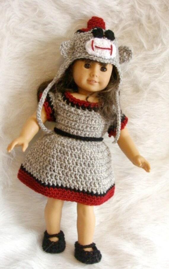 18in Sock Monkey Doll Set Fits American Girl Doll Crochet
