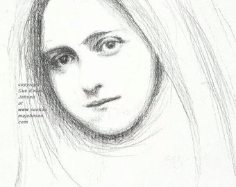 Saint Therese of Lisieux  - Fine Art Print of Pencil Sketch - Catholic Art