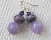 Lavender Agate and Lampwork Sterling Silver Earrings