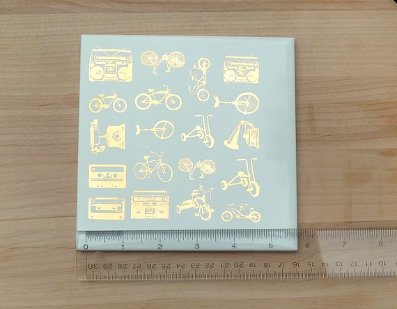 24K Gold Decals for Ceramic, Glass or Enamel  - bikes, boomboxes and mixtapes