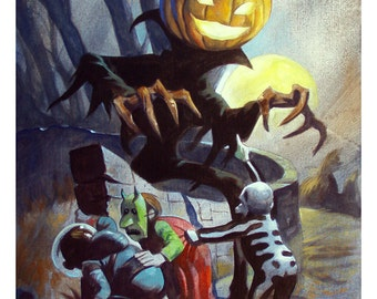 Mike Hoffman Spooky Halloween Trick or Treat Print THE PUMPKIN MAN