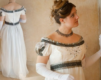 CUSTOM Elegant Princess Bridal Ball Regency Gown with handbeading