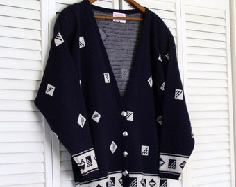 Pendleton Vintage Sweater Cardigan Women's Sweater Knit Navy Blue Virgin Wool Preppy Geometric Nautical Slouchy Medium