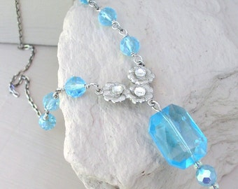 Necklace Delicate Aqua Pendant Necklace Ice Blue Pendant Beaded Glass Crystal Beads Rhinestone Handmade