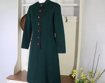 1960's Dress Mod Dress Vintage Green Long Sleeved A Line Bleeker Street Size Small