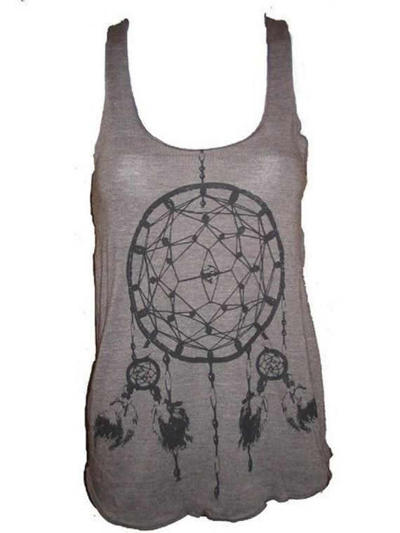 Dreamcatcher Native American Art Tank T-shirt Ladies American Apparel M (Tri-Coffee)
