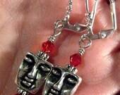 Tibetan Silver Face & Red Crystal Lever Back Yoga Meditation Earrings