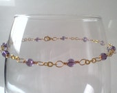 Tyrian Purple Amethyst Crystal Beaded Chain Anklet A109