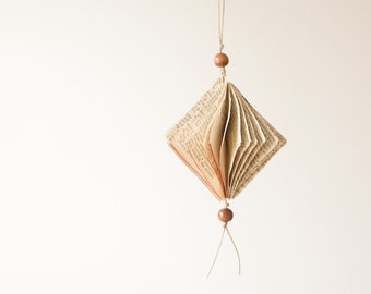 Folded Upcycled Book Paper Ornament-Diamond