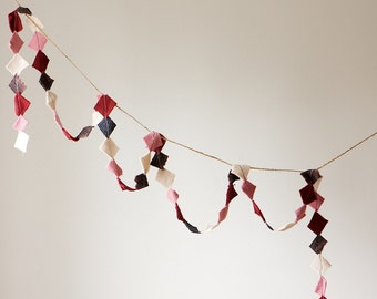 READY TO SHIP Holiday/Valentine Garland, Upcycled Felt Scrap Garland