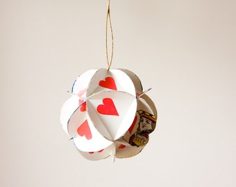 READY TO SHIP Queen of Hearts Geometric Ornament