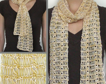 Broomstick Lace Summer Scarf - PDF Crochet Pattern - Instant Download