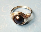 Black Pearl Ring   Black Freshwater Pearl Ring   Sterling Silver Ring   Pearl Jewelry