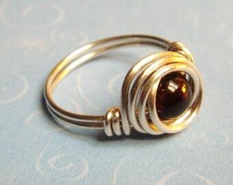 Garnet Ring  Garnet Jewelry  Sterling Silver Ring  January Birthstone  January Birthday