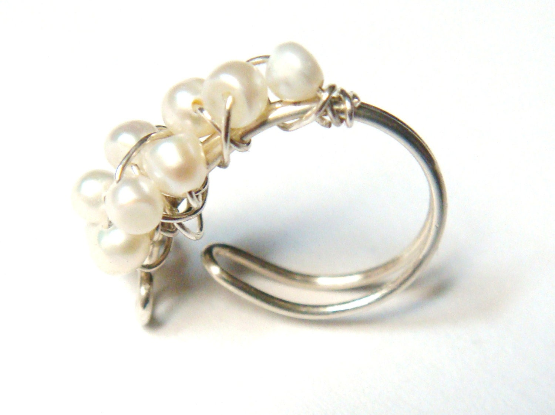 pearl ear cuff wire wrap ear cuff sterling silver ear cuff. Black Bedroom Furniture Sets. Home Design Ideas