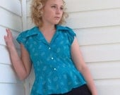 Blouse Retro Paisley and Peplum Reconstructed - Sale