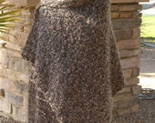 Hand Knit Shawl, Cape, Wrap, Mohair Blend Brown - Handmade Outerwear - Plus Sizes Available