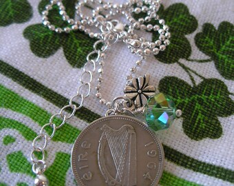 1964 IRISH  Coin Charm Birth Year Necklace-1964 Irish Scilling-Ireland Necklace